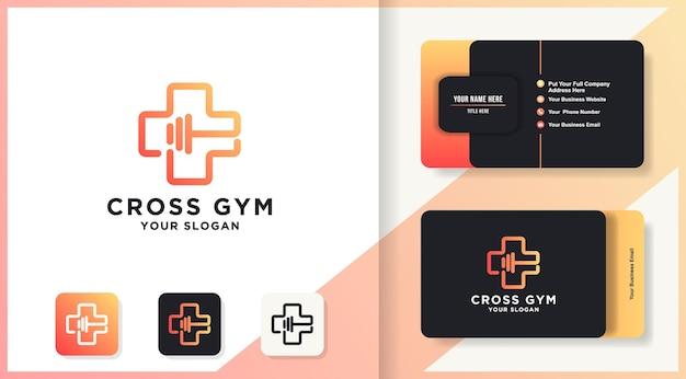 Cross gym logo-design mit mono-line-konzept und visitenkarten-design