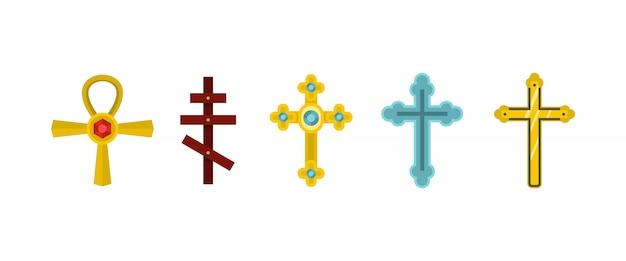 Cross-icon-set. flacher satz der kreuzvektor-ikonensammlung lokalisiert