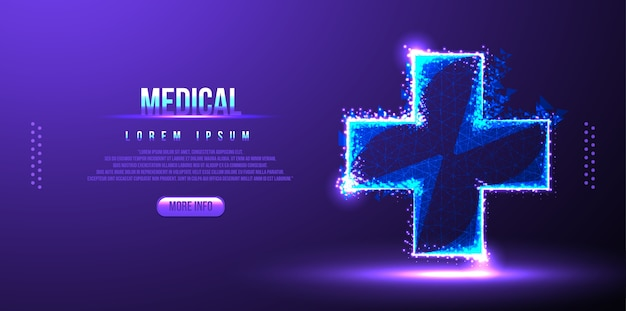 Cross medical low poly wireframe