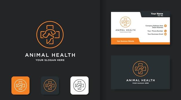 Cross pets logo-design mit linienkonzept und visitenkarte