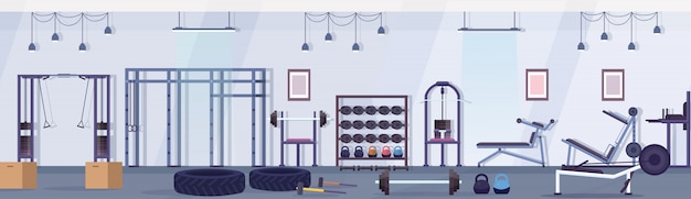 Crossfit health club studio mit trainingsgeräten gesunder lebensstil konzept leer keine menschen fitnessstudio innen trainingsgerät horizontale banner