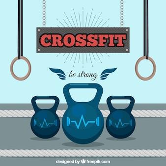 Crossfit hintergrund mit gewichten