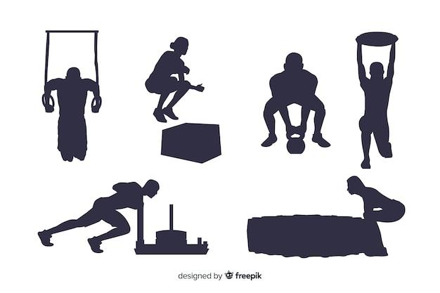 Crossfit training mann und frau silhouetten sammlung