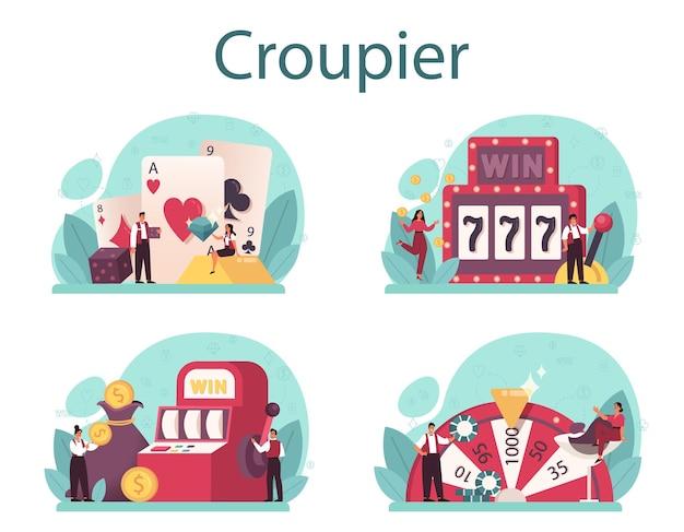 Croupier-konzeptsatz. händler im casino in der nähe des roulette-tisches. person in uniform hinter dem spielschalter. casino-spielegeschäft. isolierte vektorillustration