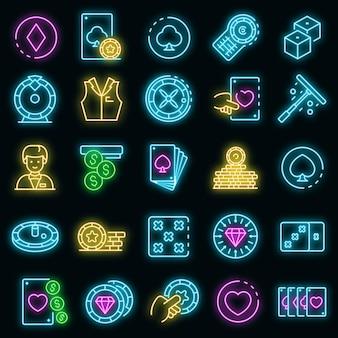 Croupier-symbole gesetzt. umrisse von croupier-vektorsymbolen neonfarbe auf schwarz