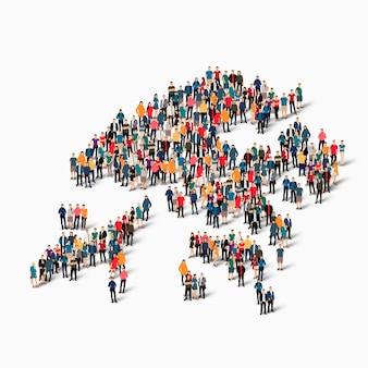 Crowd people group, die eine karte von hong kong bildet.