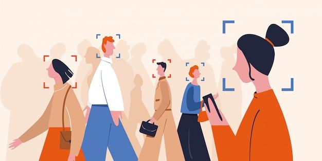 Crowd verschiedenfarbiges personenerkennungsgesicht mit moderner identifikationssoftware