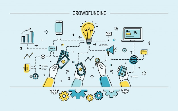 Crowdfunding. bunte flache illustration der linienkunst.