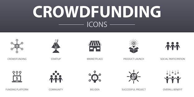 Crowdfunding einfache konzeptikonen eingestellt. enthält symbole wie startup, produkteinführung, finanzierungsplattform, community und mehr, kann für web, logo, ui/ux verwendet werden