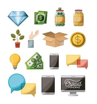 Crowdfunding-elemente stellen ikonen im weißen hintergrund ein