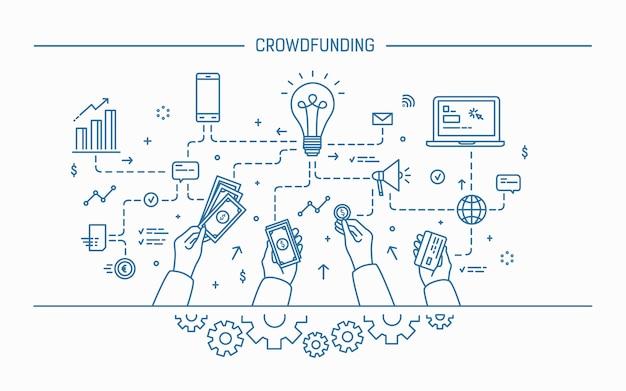 Crowdfunding. flache vektorillustration der linienkunst.