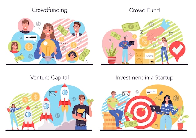 Crowdfunding-illustrationssatz