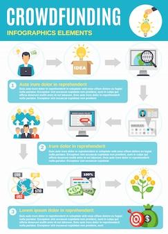 Crowdfunding-infografiken mit symbolen vom start bis zum gewinn