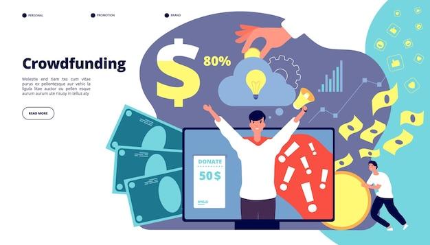 Crowdfunding. internet-service für startup-finanzinvestitionen. entwicklung, cash income management strategie, partnering vektor landing page. illustration investment crowdfunding, geldfinanzierung investieren
