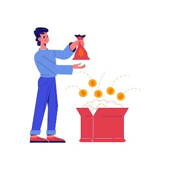 Crowdfunding-komposition mit doodle-charakter, der geldsack mit offener boxillustration hält
