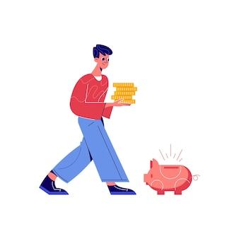 Crowdfunding-komposition mit männlicher figur, die einen stapel münzen mit sparschwein-illustration trägt