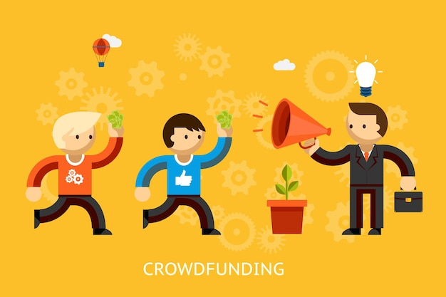 Crowdfunding-konzept mit einem geschäftsmann mit einer hellen idee, die werbung über ein megaphon und leute mit geld läuft, um vektorillustration zu investieren