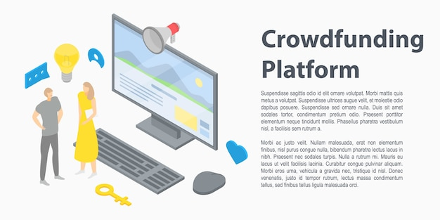 Crowdfunding-plattform-konzeptfahne, isometrische art