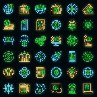 Crowdfunding-plattform-symbole gesetzt. umrisse von crowdfunding-plattform-vektorsymbolen neonfarbe auf schwarz