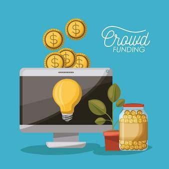 Crowdfunding-poster von desktop-computer mit glühbirne