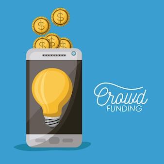 Crowdfunding-poster von smartphone mit glühbirne