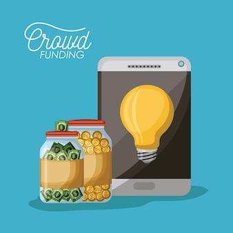 Crowdfunding-poster von tablet-gerät