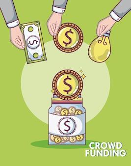 Crowdfunding spenden und anlagekonzept