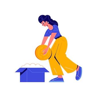 Crowdfunding-zusammensetzung mit dem charakter eines mädchens, das münze in die kartonbox-illustration steckt