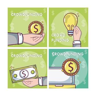 Crowfunding und geschäftsquadratrahmen