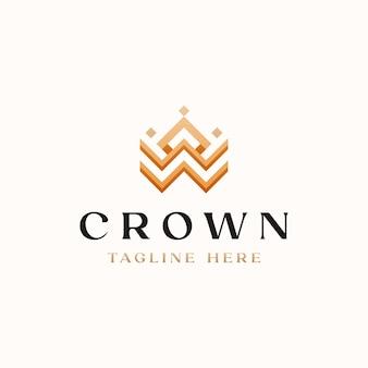 Crown golden farbverlauf monogramm logo vorlage
