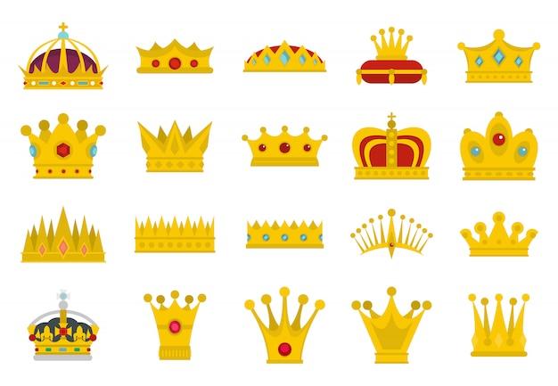 Crown icon set. flacher satz der kronenvektor-ikonensammlung lokalisiert