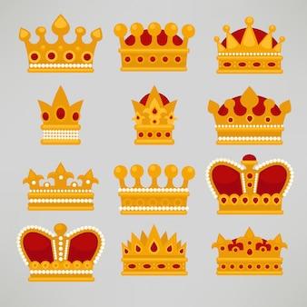 Crown icons flat royal set.
