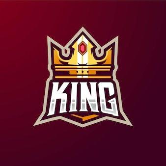 Crown king maskottchen logo design