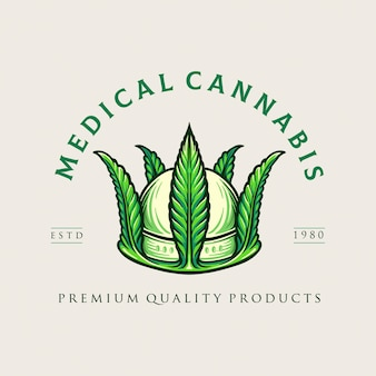 Crown medical cannabis logo unkraut unternehmen und online-shop marihuana