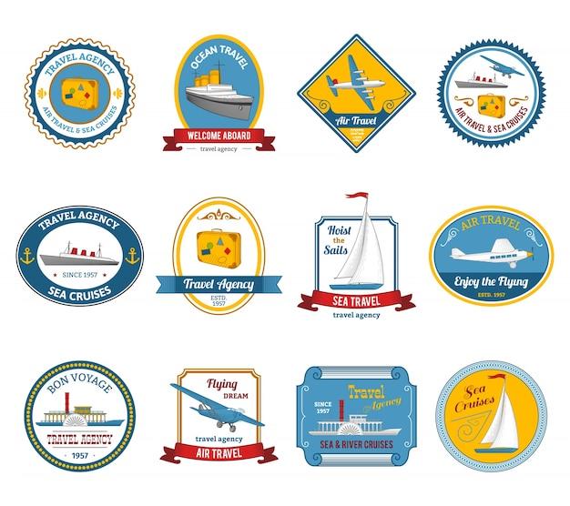 Cruise-reisebüro-touren etiketten farbig