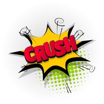 Crush sound comic-texteffekte vorlage comics sprechblase halbton pop-art-stil