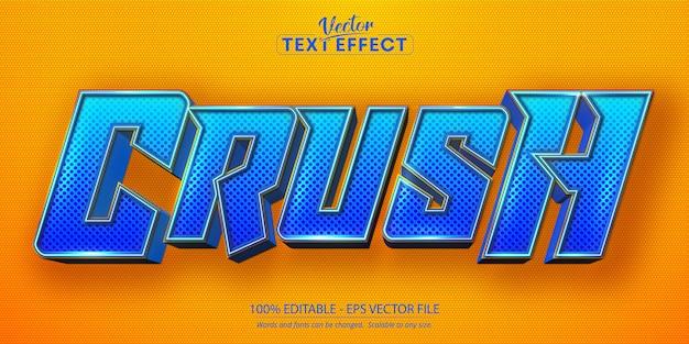 Crush-text, bearbeitbarer texteffekt im cartoon-stil