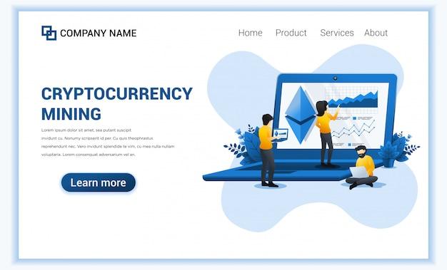 Crypto currency exchange-konzept mit personen, die an einem riesigen laptop für den austausch von bitcoin und digitalen währungen arbeiten.