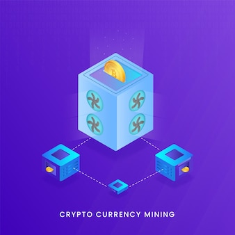 Crypto currency mining-konzept mit 3d-render-dollar-münze Premium Vektoren