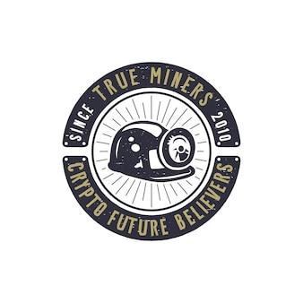Crypto mining emblem.