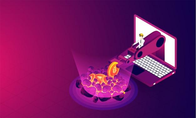 Crypto-mining-konzept basiert auf isometrischem design.