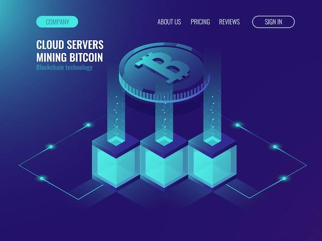 Crypto-währungs-mining-konzept, blockchain-technologie, token-system-vernetzung