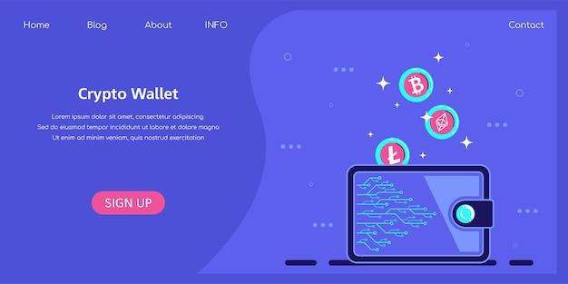 Crypto wallet-konzept, cryptocurrency-speicher-app-konzept. kryptomünzen fallen in die brieftasche.