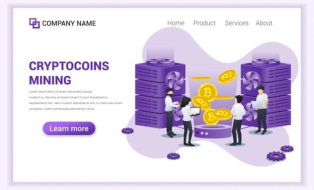 Cryptocurrency-bergbaukonzept mit den leuten, die bitcoins gewinnen