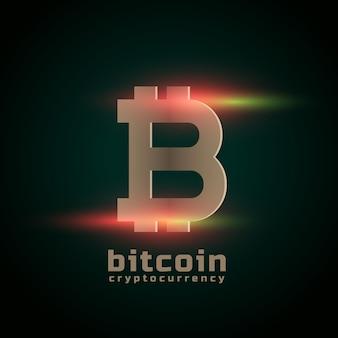 Cryptocurrency bitcoin mit lichteffekt