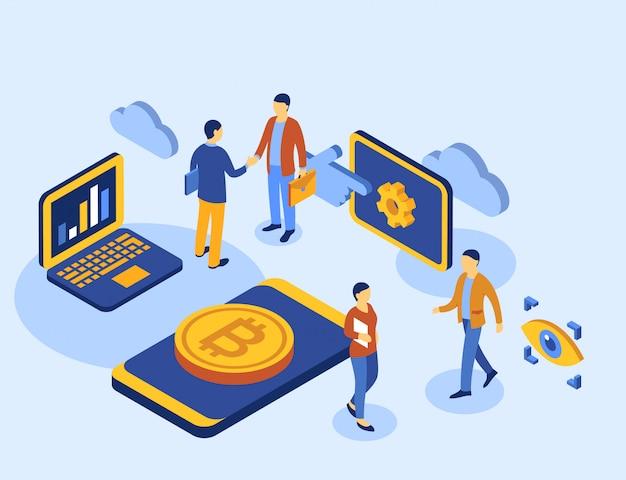 Cryptocurrency bitcoin technologie isometrische symbole