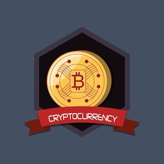 Cryptocurrency-design mit bitcoin-münze