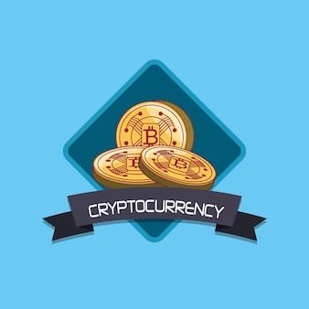 Cryptocurrency-design mit bitcoin-münzen