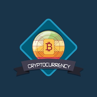 Cryptocurrency emblem mit bitcoin münze symbol