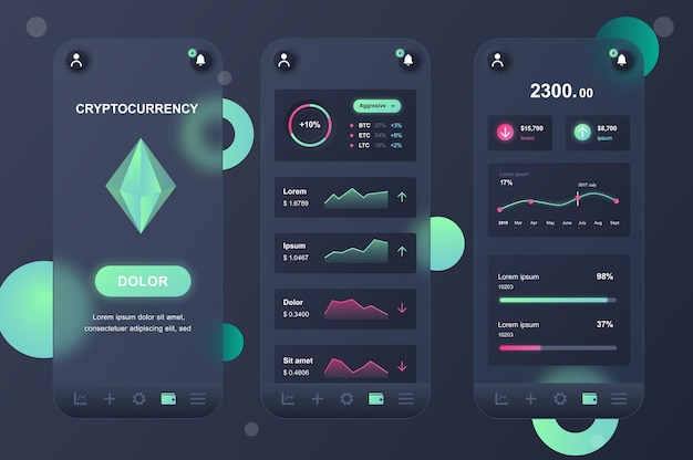 Cryptocurrency glassmorphic design neumorphic elements kit für mobile app ui ux gui bildschirme eingestellt